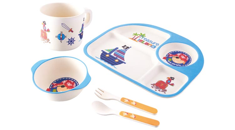 Bamboo Kids Plates And Bowls Eco Dinner Set Children S