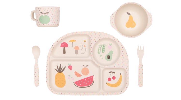 5 Piece Toddler Dinnerware Set Eco Dinner Set Childrens Dinner Set